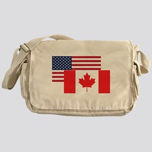 American And Canadian Flag Messenger Bag