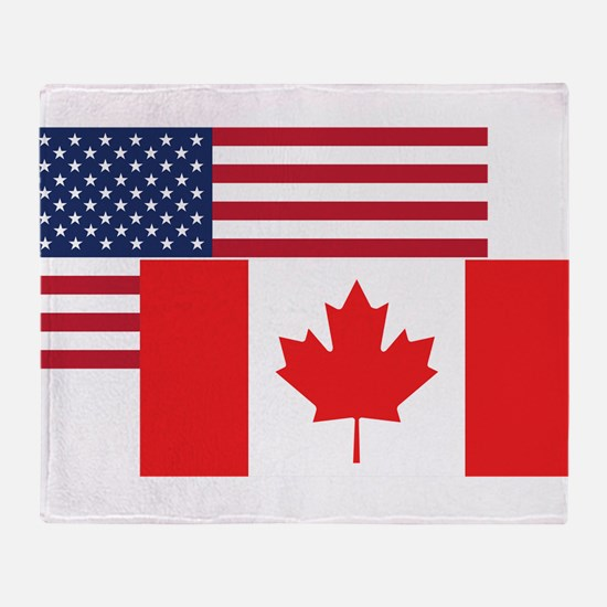 American And Canadian Flag Throw Blanket