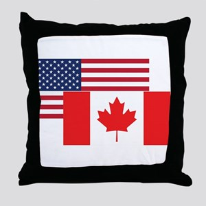American And Canadian Flag Throw Pillow