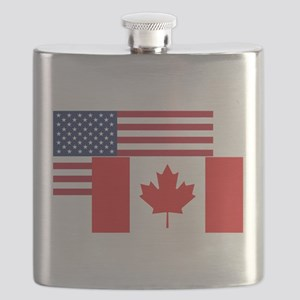 American And Canadian Flag Flask