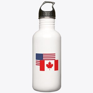 American And Canadian Flag Water Bottle
