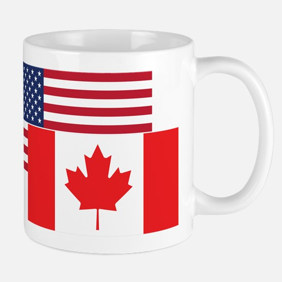 American And Canadian Flag Mugs