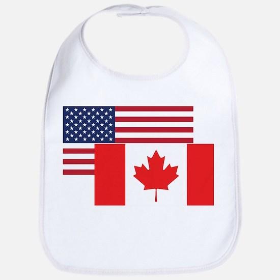 American And Canadian Flag Bib