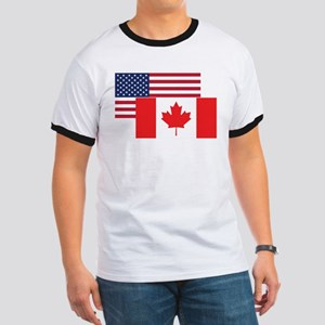 American And Canadian Flag T-Shirt