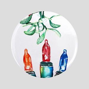 "Colored Lights & Mistletoe 3.5"" Button"