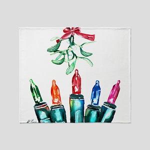 Colored Lights & Mistletoe Throw Blanket