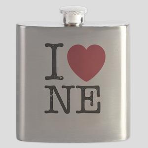 I Love NE Nebraska Flask