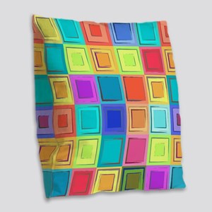 Colorful Retro Burlap Throw Pillow