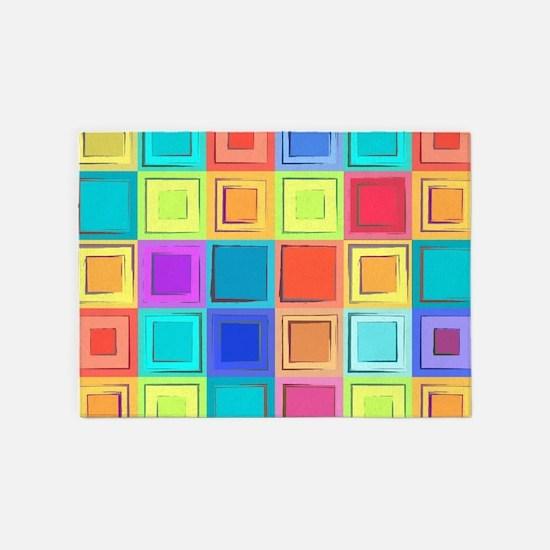 Colorful Retro 5'x7'Area Rug