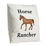 Horse Rancher Burlap Throw Pillow
