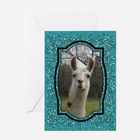 Aquamarine Glitter Llama Portrait 2 Greeting Cards