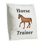 Horse Trainer Burlap Throw Pillow