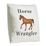 Horse Wrangler Burlap Throw Pillow