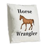 Horse Wrangler Burlap Throw Pillow