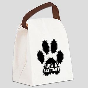 Hug A Brittany Dog Canvas Lunch Bag