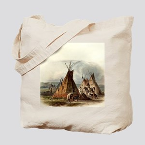 Assiniboin teepee Native Skin Lodge Tote Bag