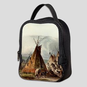 Assiniboin teepee Native Skin L Neoprene Lunch Bag