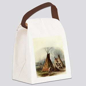 Assiniboin teepee Native Skin Lod Canvas Lunch Bag