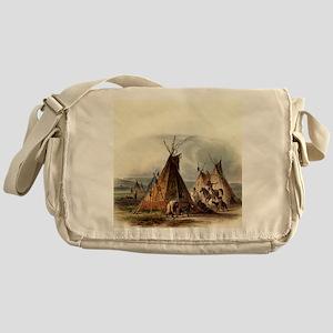 Assiniboin teepee Native Skin Lodge Messenger Bag