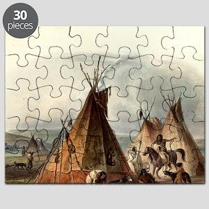 Assiniboin teepee Native Skin Lodge Puzzle