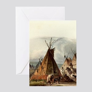 Assiniboin teepee Native Skin Lodge Greeting Cards