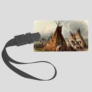 Assiniboin teepee Native Skin Lo Large Luggage Tag