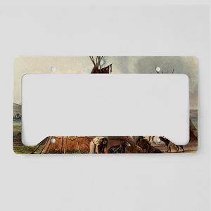 Assiniboin teepee Native Skin License Plate Holder