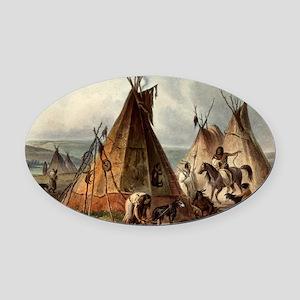 Assiniboin teepee Native Skin Lodg Oval Car Magnet