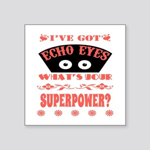 "Echo Eyes Superpower Coral Square Sticker 3"" x 3"""