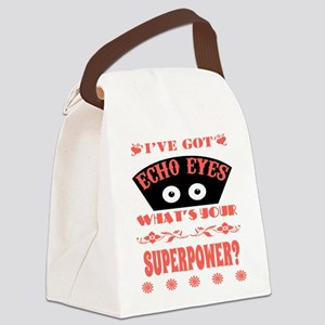 Echo Eyes Superpower Coral Canvas Lunch Bag