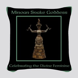 Minoan Snake Goddess Woven Throw Pillow