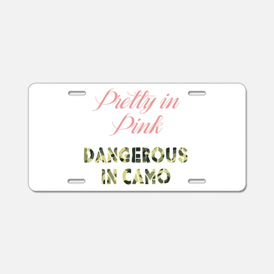 Dangerous in Camo Aluminum License Plate
