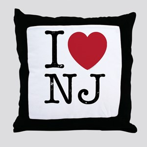 I Love NJ New Jersey Throw Pillow