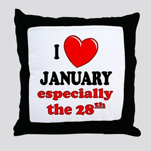 January 28th Throw Pillow