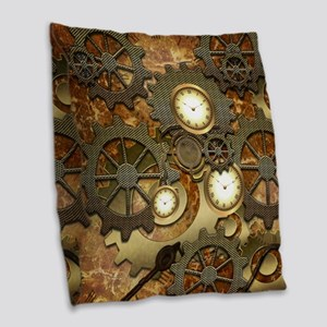 Steampunk, clocks and gears Burlap Throw Pillow