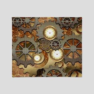 Steampunk, clocks and gears Throw Blanket