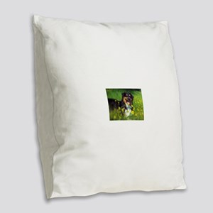 SURF Australian Shepherd Burlap Throw Pillow