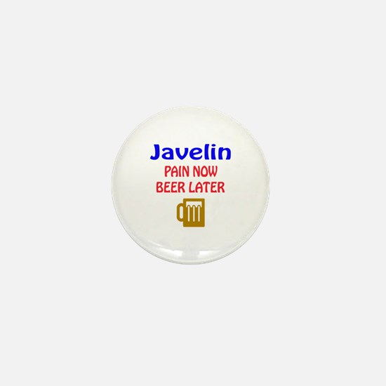 Javelin throw Pain now Beer later Mini Button