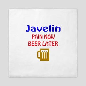 Javelin throw Pain now Beer later Queen Duvet