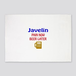 Javelin throw Pain now Beer later 5'x7'Area Rug