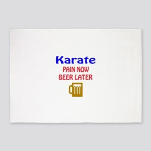 Karate Pain now Beer later 5'x7'Area Rug