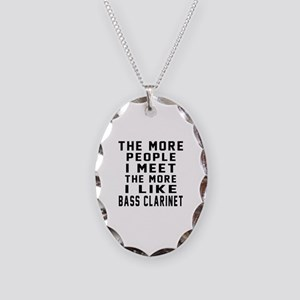 I Like More Bass Clarinet Necklace Oval Charm