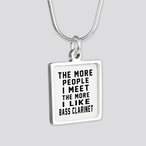 I Like More Bass Clarinet Silver Square Necklace