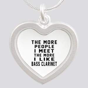 I Like More Bass Clarinet Silver Heart Necklace