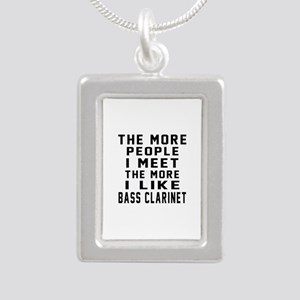 I Like More Bass Clarine Silver Portrait Necklace