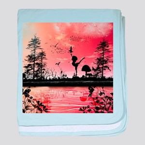 Dancing in the sunset baby blanket
