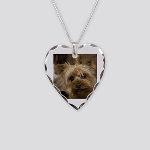 Yorkie Puppy Necklace Heart Charm