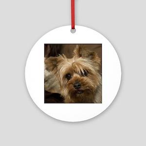 Yorkie Puppy Round Ornament
