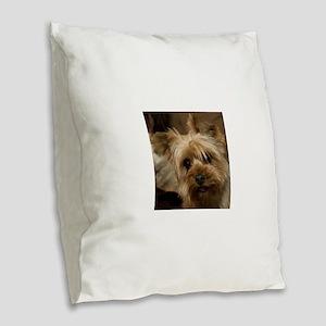 Yorkie Puppy Burlap Throw Pillow