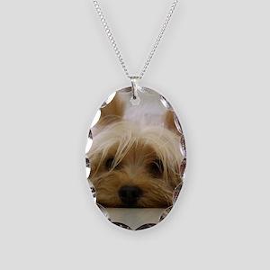 Yorkie Dog Necklace Oval Charm